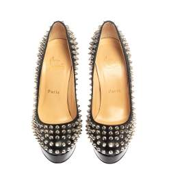 Christian Louboutin Black Leather Bianca Spikes Pumps Size 37