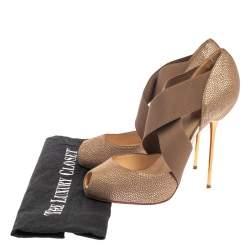 Christian Louboutin Metallic Brown Textured Leather Big Dorcet Peep Toe Pumps Size 38.5