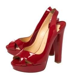 Christian Louboutin Red Patent Leather Marpoil Peep Toe Platform Slingback Sandals Size 38.5