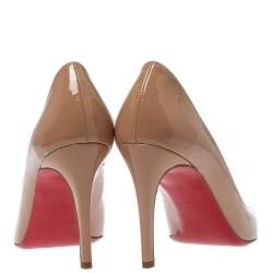 Christian Louboutin Beige Patent Leather Miss Gena Pumps Size 40.5