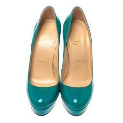 Christian Louboutin Green Patent Leather Bianca Platform Pumps Size 36