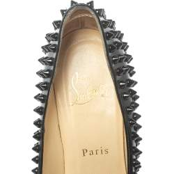 Christian Louboutin Black Leather Pigalle Spikes Pumps Size 37