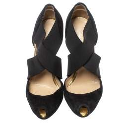 Christian Louboutin Black Suede And Elastic Cross Strap Peep Toe Sandals Size 38