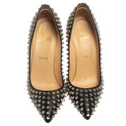 Christian Louboutin Black Leather Pigalle Spike Pumps Size 40
