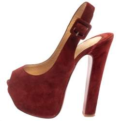 Christian Louboutin Mahogany Red Suede Peep Toe High Platform Sandals Size 36
