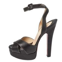 Christian Louboutin Black Leather Vivaeva Platfrom Sandals Size 40.5