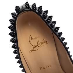 Christian Louboutin Black Patent Leather Lady Peep Toe Spike Platform Pumps Size 39