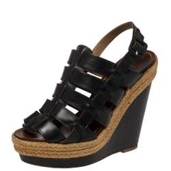 Christian Louboutin Black Leather Caged Espadrille Wedge Sandals Size 36