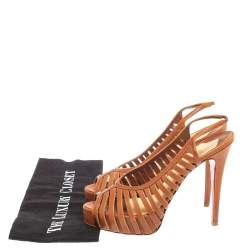 Christian Louboutin Tan Leather Cut Out Peep Toe Platform Slingback Sandals Size 39
