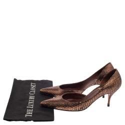 Christian Louboutin Bronze Snakeskin Iriza Pumps Size 38