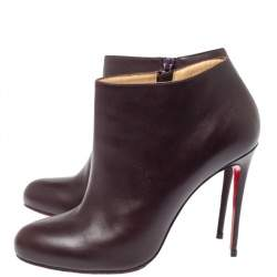 Christian Louboutin Dark Brown Leather Belle Ankle Boots Size 41