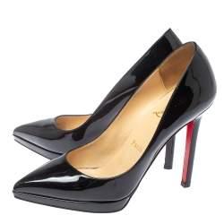 Christian Louboutin Black Patent Leather Pigalle Platform Pumps Size 36.5