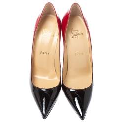 Christian Louboutin Red/Black Degradè Patent Leather Decollete 554 Pointed Toe Pumps Size 38.5