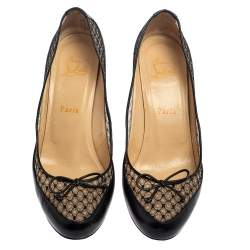 Christian Louboutin Black Leather And Lace Bow Pumps Size 38.5