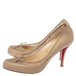 Christian Louboutin Beige Leather And Lace Bow Pumps Size 38.5