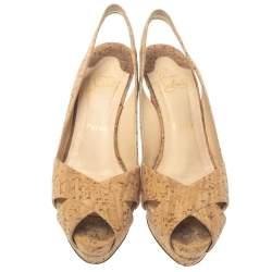 Christian Louboutin Brown/Beige Cork Soso Criss Cross Platform Slingback Sandals Size 39