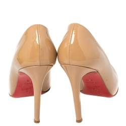 Christian Louboutin Beige Patent Leather New Simple Pumps Size 38.5