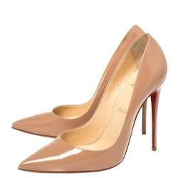 Christian Louboutin Beige Patent Leather So Kate Pumps Size 38.5