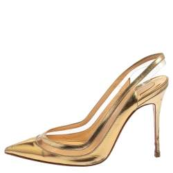Christian Louboutin Metallic Gold Patent Leather and PVC Paulina Slingback Pointed Toe Pumps Size 37.5