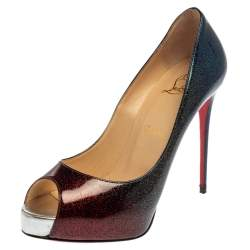 Christian Louboutin Ombre Multicolor Glitter Patent Leather New Very Prive Peep Toe Pumps Size 37.5