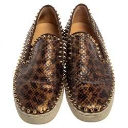 Christian Louboutin Brown Leopard Print Python Pik Boat Slip On Sneakers Size 40