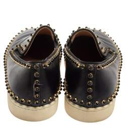 Christian Louboutin Black Leather Spike Pik Boat Slip On Sneakers Size 40