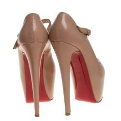 Christian Louboutin Beige Leather Mary Jane Platform Pumps Size 37.5