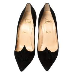 Christian Louboutin Black Suede Tassel Embellished Gwalior Pumps Size 40.5