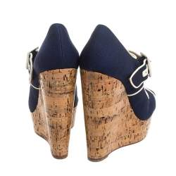 Christian Louboutin Blue Canvas Melides Wedge Sandals Size 37.5