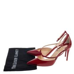 Christian Louboutin Red Patent Leather Fliketta Ankle Strap Pointed Toe Pumps Size 38
