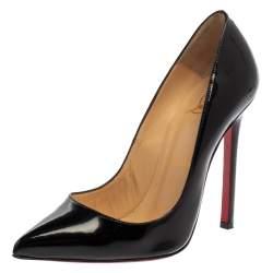 حذاء كعب عالي كريستيان لوبوتان بيغال جلد لامع أسود مقاس 36.5