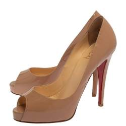 Christian Louboutin Beige Patent Leather Very Prive Pumps Size 40.5