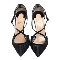 Christian Louboutin Black Fabric And Patent Leather Twistissima Crisscross Pumps Size 39.5
