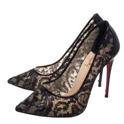 حذاء كعب عالى كريستيان لوبوتان مقدمة مدببة فوليس جلد لامع ودانتيل أسود مقاس 38.5