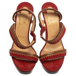 Christian Louboutin Red Leather And Suede Trepi City Sandals Size 38.5