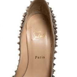 حذاء كعب عالى كريستيان لوبوتان  سبايكز بيغال جلد ميتالك مقاس 39.5