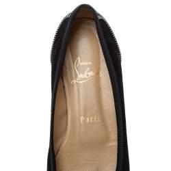 Christian Louboutin Black Leather Spiked Zipper Ballet Flats Size 37