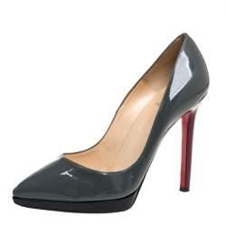 حذاء كعب عالى كريستيان لوبوتان بلاتو بيغال جلد لامع ثلاثى اللون مقاس 36