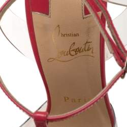 Christian Louboutin Pink Patent Leather/PVC T Strap Sandals Size 37.5