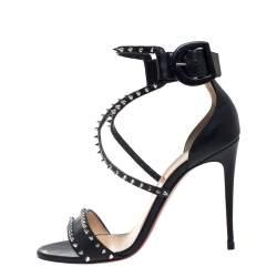 Christian Louboutin Black Leather Choca Spikes Sandals Size 37.5