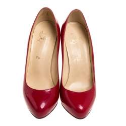Christian Louboutin Red Patent Leather Simple  Pumps Size 37