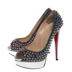 حذاء كعب عالى كريستيان لوبوتان نعل سميك سبايك مقدمة مفتوحة ليد جلد وقماش لاميه متعدد الألوان مقاس 37.5