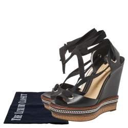 Christian Louboutin Black Leather Tribuli Wedge Sandals Size 40