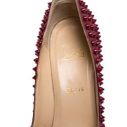 Christian Louboutin Red Patent Leather Pigalle Spikes Pointed Toe Pumps Size 39.5