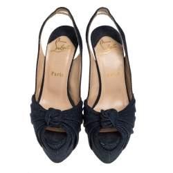 Christian Louboutin Blue Denim Jenny Knotted Slingback Platform Sandals Size 36.5