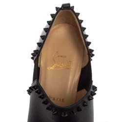 بوت كريستيان لوبوتان فيكي جلد أسود بحزام للكاحل مقاس 39.5