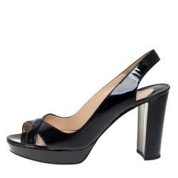 Christian Louboutin Black Patent Leather Marpoil Block Heel Slingback Sandals Size 37