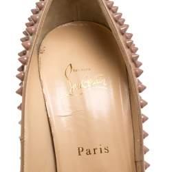 Christian Louboutin Nude Patent Leather Lady Peep Toe Spikes Platform Pumps Size 40
