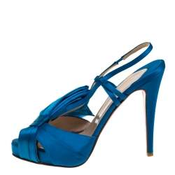 Christian Louboutin Blue Satin Pour Monsieur Slingback Sandals Size 39.5