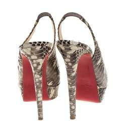Christian Louboutin Grey/White Python Leather Bianca Slingback Pumps Size 40